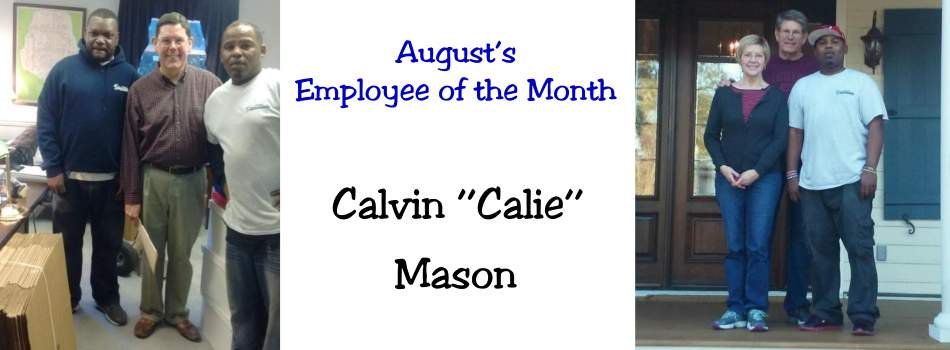 August Employee of the Month Calvin Mason